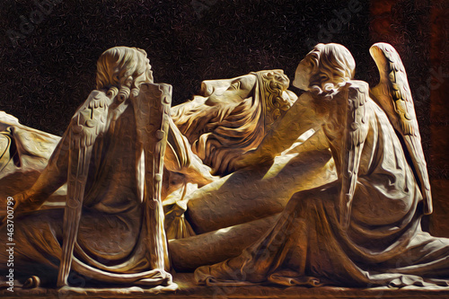 Fotografie, Obraz Angels and face of King Dom Pedro carved in marble on the lid of his sarcophagus in Alcobaca