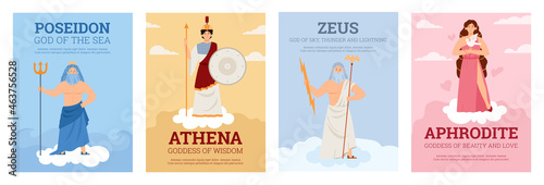 Set of vector posters with olympian goddesses and gods ancient greek mythology Fotobehang
