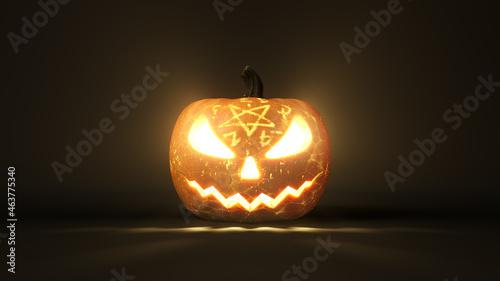 Obraz na płótnie conjured Halloween pumpkin with glowing eyes
