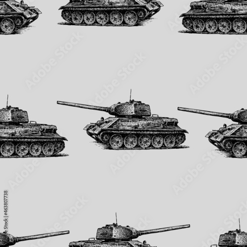 Obraz na plátně Seamless pattern from sketches of old battle tanks of the second world war