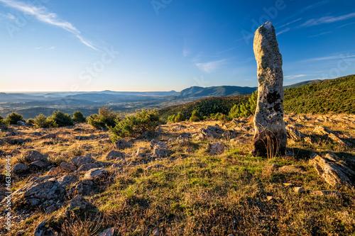 Hito en cerro Merina. Avila. España. Europa