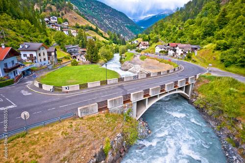 Valokuva Stelvio pass road and river in Stilfs village, Dolomites Alps