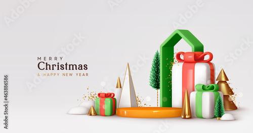 Christmas and New Year festive round podium studio Poster Mural XXL