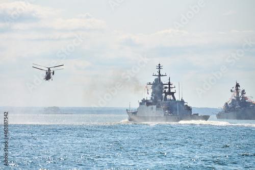 Tela Battleships war ships corvette during naval exercises and helicopter maneuvering