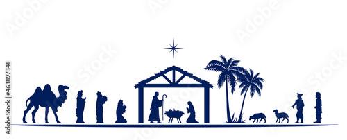 Obraz na plátně Christmas Nativity scene greeting card background