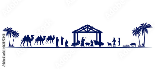 Fotografie, Obraz Christmas Nativity scene greeting card background