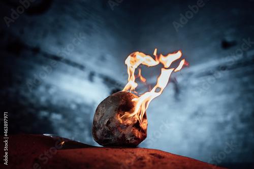 Fotografie, Obraz a burning human skull