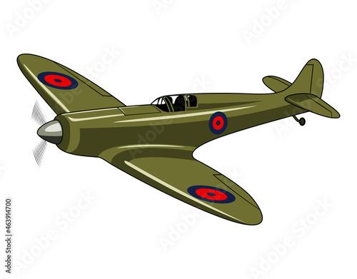 Canvas Print Supermarine Spitfire 1936. Vintage airplane. Vector clipart.