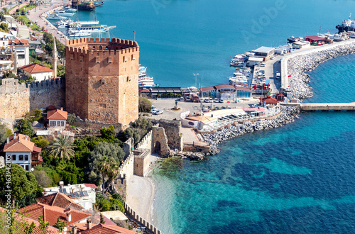 Wallpaper Mural Close up photo of Red Tower which locally  known as Kızıl Kule in Alanya, Antalya, Turkey