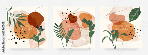 Square web banners background for social media with place for text and photo. Tropical leaves and organic shape watercolor style background for advertising, social media post, wall art, canvas prints.