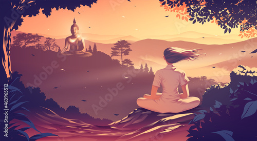 Obraz na plátne a young woman is meditating on the top of a mountain where she is facing another mountain where the buddha statue in sitting position on the peak of the mountain