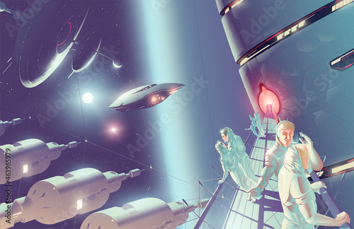 Fotografie, Obraz SciFi vector illustration of space tourism on a space colony in double stars system