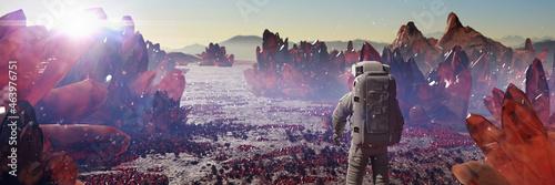 Fotografie, Obraz astronaut on alien planet, exoplanet landscape with giant crystals