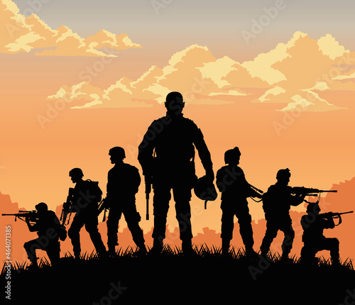 Tela seven soldiers sunset scene