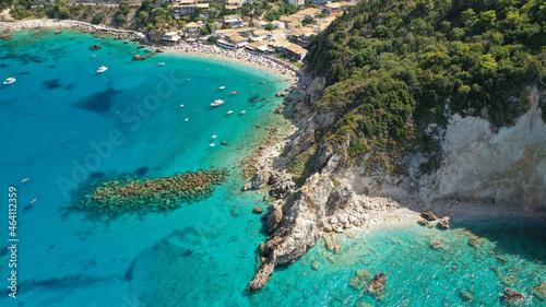 Canvastavla Aerial drone photo of small rocky cove near popular traditional village of Agios