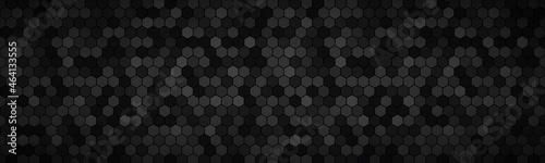 Canvastavla Dark widescreen banner with hexagons with different transparencies