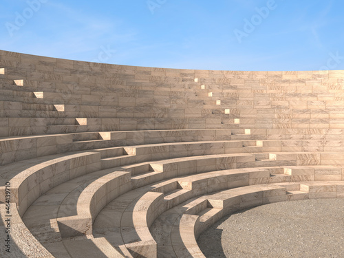 Canvas 3d rendering of a classic amphitheatre with stone steps
