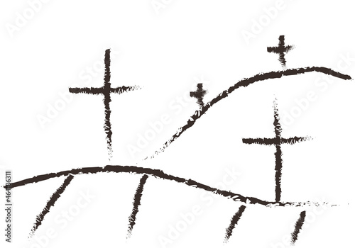 Valokuvatapetti Dibujo negro de un cementerio con cruces.