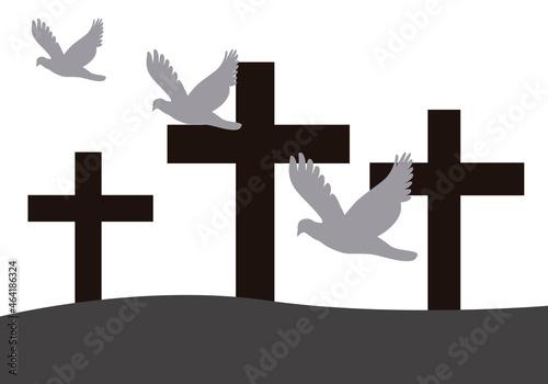 Canvas-taulu Fondo de cementerio con cruces del día de todos los santos.