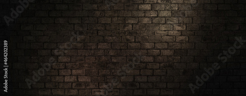 Photo Dark Brown Abstract Brick Wall Surface Texture Background