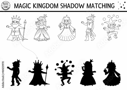 Obraz na plátne Fairytale black and white shadow matching activity with king, queen, prince, princess