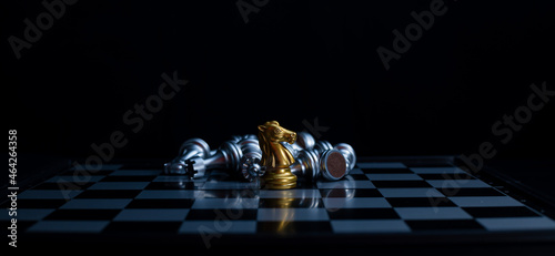 Canvastavla Chess board game knight gold team is winner silver team stategy game as business challange competitive game ,this business stategy plan concept