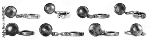 Fotografia Set with metal balls and chains on white background, banner design