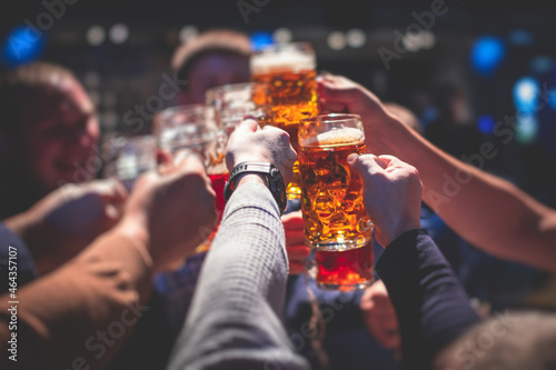 Canvas View of beer festival, gold coloured beer glasses assortment in a pub, german un
