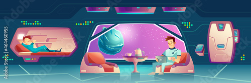 Vector bedroom at spaceship, station with astronauts Fotobehang