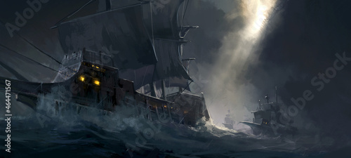 Photo Digital painting of ancient warships traveling on rough seas.