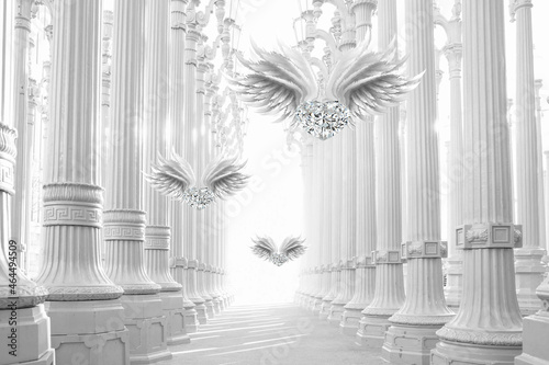 Canvas Print 3d picture diamonds with wings in the perspective of the colonnade