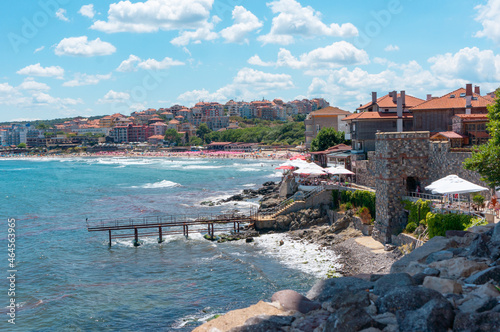 Canvas-taulu Coastal landscape, panorama - embankment with fortress wall in Sozopol Bulgaria