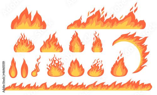Obraz na plátně Cartoon fire flames flat vector collection