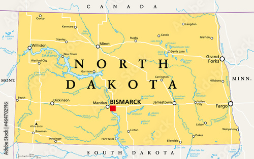 Foto North Dakota, ND, political map, with capital Bismarck
