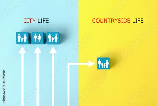 都会から田舎へ移住する家族のイメージ Fototapeta
