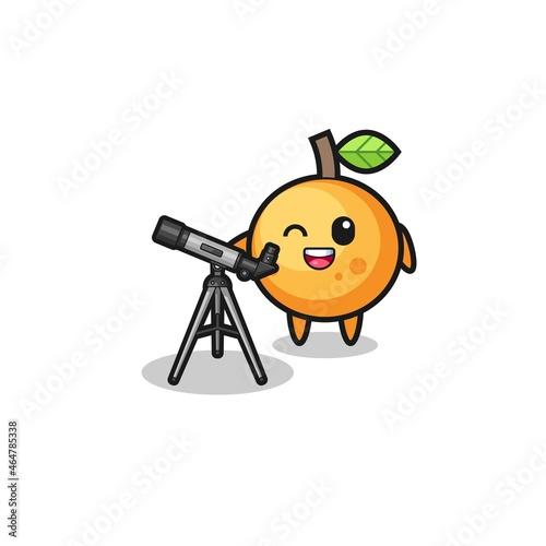 orange fruit astronomer mascot with a modern telescope Fotobehang