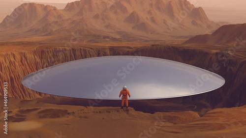 Photo Astronaut Spacecraft Large Crater Alien Silver UFO Retro Disc Floating Arid Moun