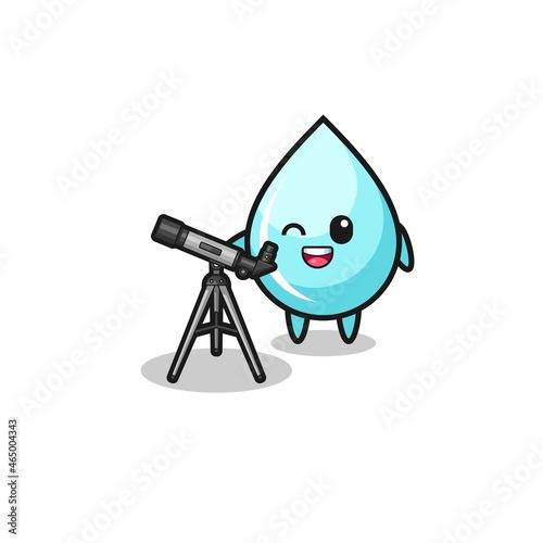 water drop astronomer mascot with a modern telescope Fotobehang