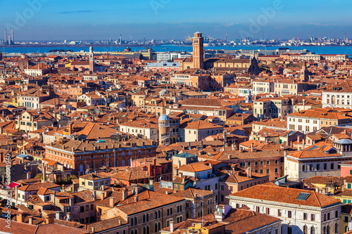 Fotografia Venice panoramic aerial view with red roofs, Veneto, Italy