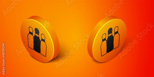 Isometric Bowling pin icon isolated on orange background Fototapeta