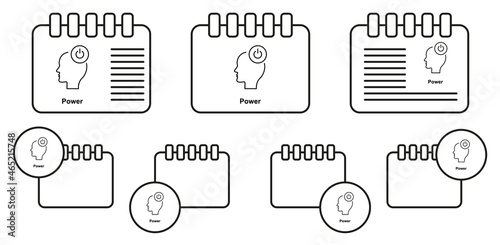 Tela Turn on, head, power vector icon in calender set illustration for ui and ux, web