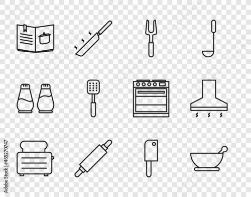 Fotografie, Tablou Set line Toaster with toasts, Mortar and pestle, Barbecue fork, Rolling pin, Cookbook, Spatula, Meat chopper and Kitchen extractor fan icon
