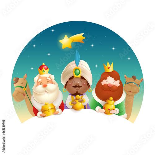 Fényképezés We Three Kings celebrate Epiphany - cute illustration isolated