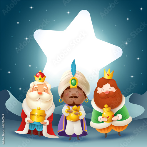 Three Kings with gifts celebrate Epiphany in front of star - night scene Tapéta, Fotótapéta